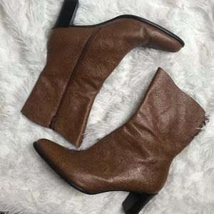 Brown leather embossed leather booties boho style